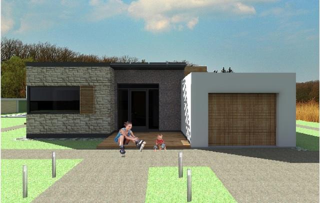 Wizualizacja frontu domu.