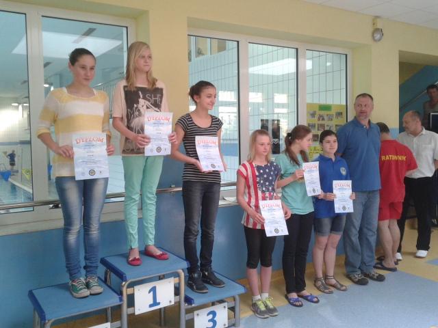 Finalistki Dolnośląskiej Ligii Pływackiej - miejsce II Agata Knapik, miejsce IV Izabela Tkaczyk