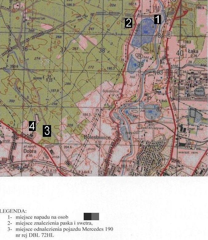 Na tej mapce widać gdzie znaleziono taksówkarza a gdzie samochód.