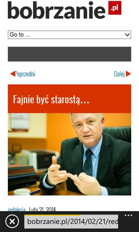Bobrzanie.pl na ekranie Nokii Lumii