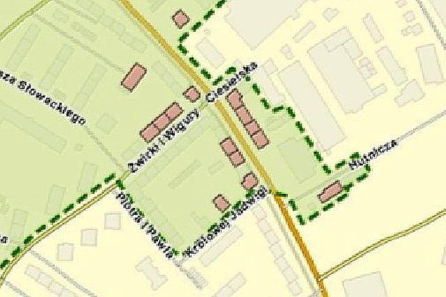 fragment z mapki stanowiacej zalacznik graficzny do gminnego programu opieki nad zabytkami miasta boleslawiec 2014-2018do