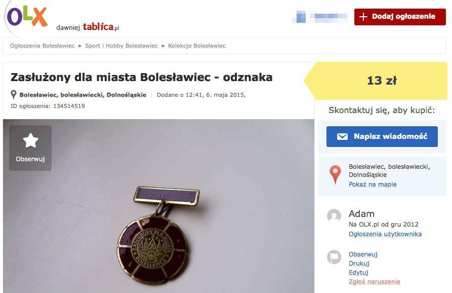 Zasłużony_dla_miasta_Bolesławiec_-_odznaka_Bolesławiec_•_OLX_pl__dawniej_Tablica_pl_