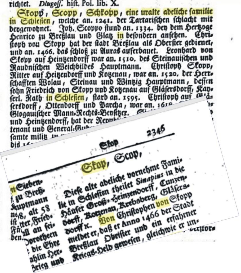 von Skop, Skopp, Scopp, Schkop... różne formy pisowni nazwiska - Skop - ten który zszedł z góry, z kopy (przeszedł Sudety na Śląsk)